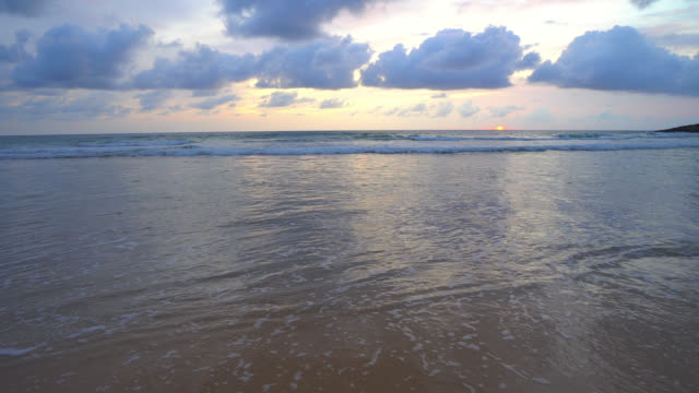 Beautiful tropical beach and sea at sunset time video