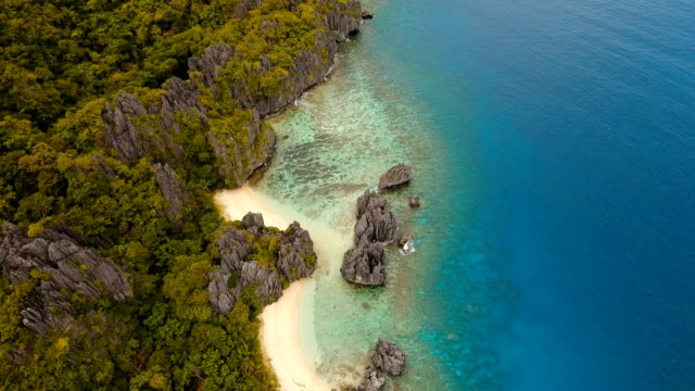 Beautiful tropical lagoon, aerial view. Tropical island video
