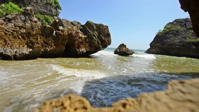 Beautiful tropical sand beach against the blue sky video