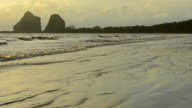 Beautiful tropical sand beach against the sunset sky video