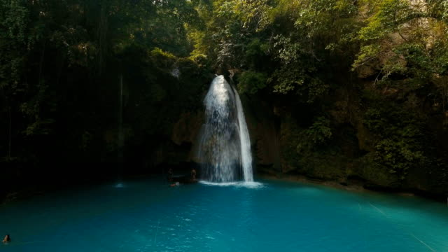 Beautiful tropical waterfall. Kawasan Falls. Philippines Cebu island video