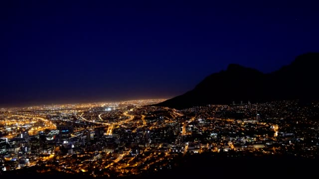 Beautiful view of Cape Town at night, South Africa video