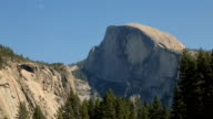 Beautiful view of Half Dome and the Moon at Yosemite National Park in California. video