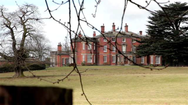 Beautiful View of Maple Hayes Stately Home Across Fields, Trees and Marshes / Marshlands - Historic English Country House video