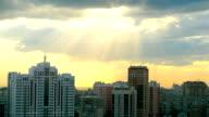 Beautiful view of Novosibirsk skyline at sunset video