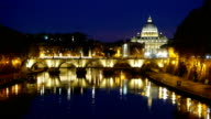 Beautiful view over Tiber River and its bridges in Rome - with a view over Vatican and Saint Peter s Basilica video