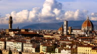 Beautiful views of Florence and Cathedral Santa Maria del Fiore, Florence, Italy. Cloudy sky, time-lapse. video