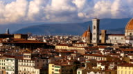 Beautiful views of Florence and Cathedral Santa Maria del Fiore, evening, Florence, Italy. Cloudy sky, time-lapse. video
