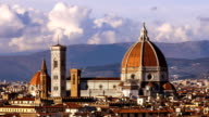 Beautiful views of Florence and Cathedral Santa Maria del Fiore, evening, Florence, Italy. Clouds, timelapse. Evening. video