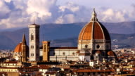 Beautiful views of Florence and Cathedral Santa Maria del Fiore, evening, Florence, Italy. Timelapse. Evening. Zoom. video