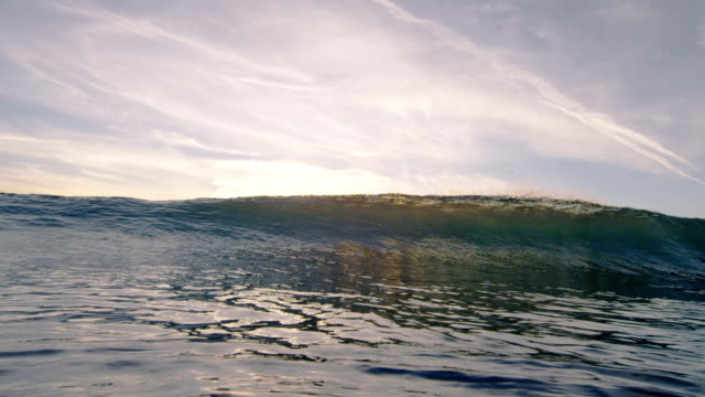 Beautiful wave breaks at sunset/ sunrise video