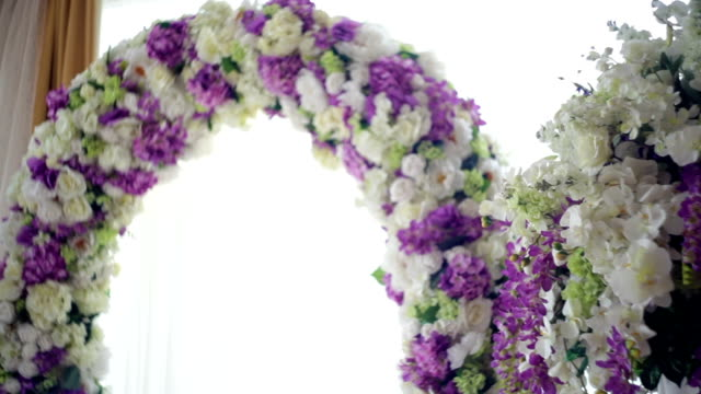 Beautiful wedding arch for the ceremony of flowers video