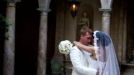 Beautiful wedding couple together. Sequence 3 shot video