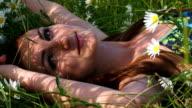Beautiful woman among chamomiles video
