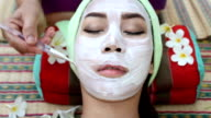 beautiful woman asia in spa and facial mask video