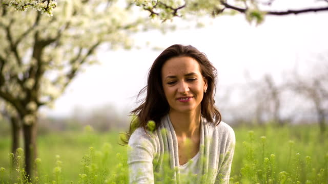 Beautiful woman enjoying in the nature and fresh air video