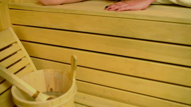 Beautiful Woman Enjoying Sauna video
