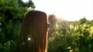 Beautiful woman  in a vineyard video