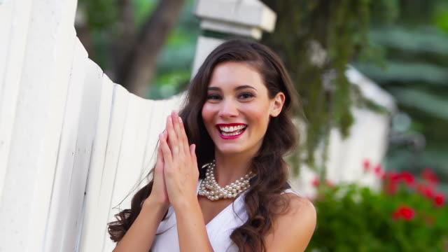Beautiful woman laughing video