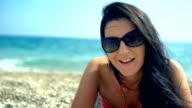 Beautiful woman posing on the beach video