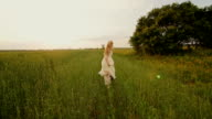 Beautiful Woman Running Wind Blowing Hair Slow Motion video