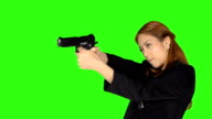 Beautiful Woman Shooting Gun With Green Screen Background video