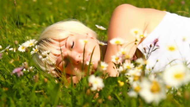 HD DOLLY: Beautiful Woman Sleeping In A Meadow video