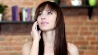 Beautiful Woman Talking On Smartphone, Indoor video