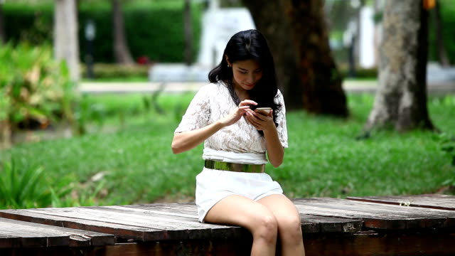 Beautiful woman using smartphone on old wood bridge buy order and payment by her phone video