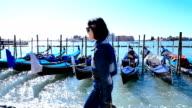 beautiful woman walking on the seashore video