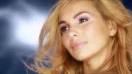 Beautiful woman wirh nice rose makeup video