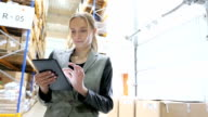 Beautiful worker using tablet in warehouse video
