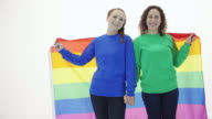 Beautiful young adult female couple holding hands and gay pride flag video