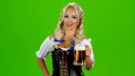 Beautiful young blond girl of oktoberfest beer stein video