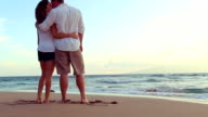 Beautiful Young Couple Kissing at Beach Sunset video