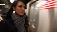 Beautiful Young Woman in New York City Subway, Copy Space video
