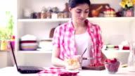 Beautiful Young Woman Preparing Healthy Breakfast video