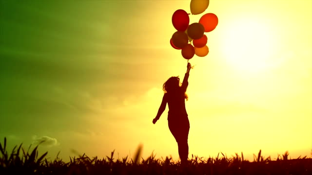 Beautiful Young Woman Running Meadow Balloons Sunset Happy video