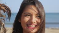 Beautiful young woman smiling video