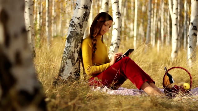 Beautiful young woman tablet computer park reading video
