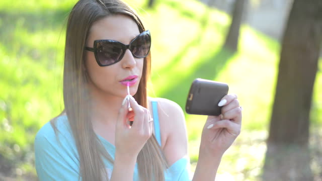 Beauty girl talking on the phone video