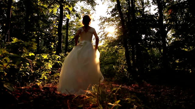 Beauty Princess Fairy Tale Running Forest Young Woman HD video