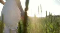 Beauty Romantic Girl running on green field in sunshine video