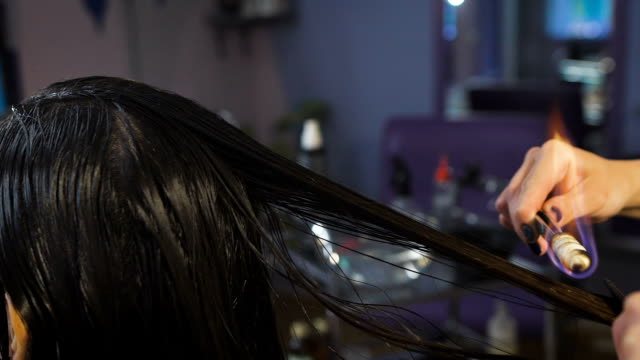 Beauty studio, for brunettes with long hair making process fire haircut video
