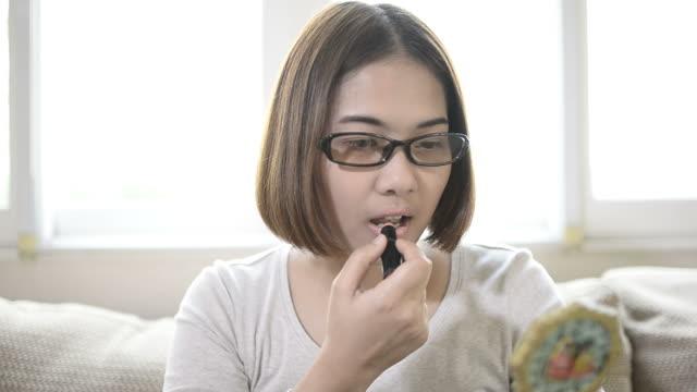 Beauty Teenage Girl applying Make up video
