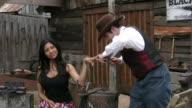 Beauty treatment in Wild West video