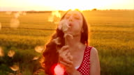 Beauty Young Woman Blowing Dandelion Wishing Joy Concept video