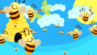 Bee Hive and a lot of Bees Flying on a Beautiful Day video