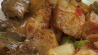 Beef Peppercorn & Potatoes Close Up HD video