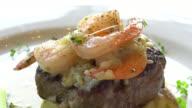 Beef steak with shrimp video